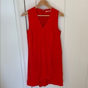 J Brand cute red shift w/sheer back size M